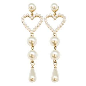 Jewelry - 3/$15! Pearl Heart Drop Earrings